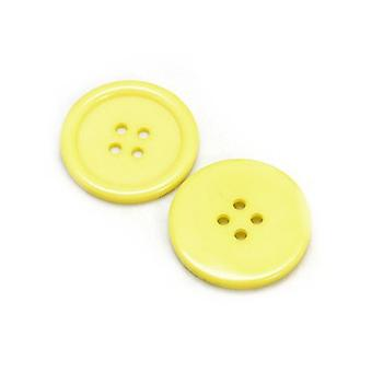 Packet 8 x Yellow Resin 34mm Round 4-Holed Sew On Buttons HA10430