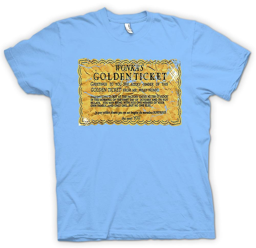 Mens t-skjorte - Willy Wonka Golden Ticket - Funny