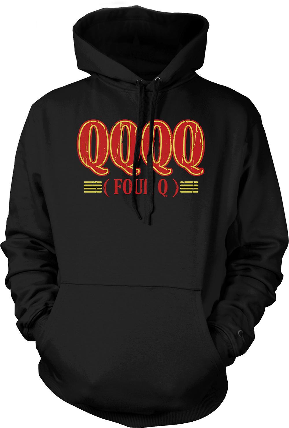 Mens Hoodie - QQQQ Four Q - Funny Crude