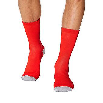 Solid Jack men's soft plain bamboo crew socks in red | By Thought
