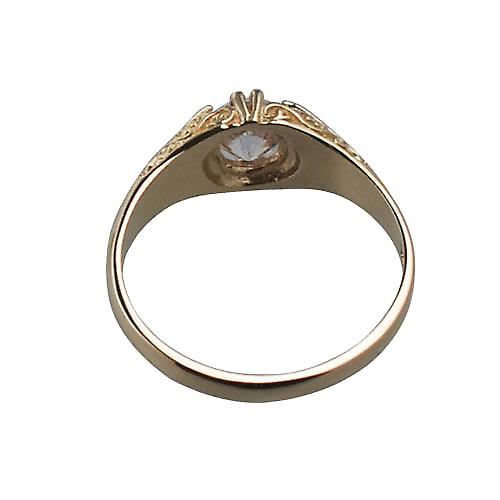 9ct Gold CZ set with carved shoulders dress Ring