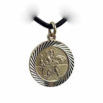 1/20 14ct gelb Gold auf Silber 21mm Runden Diamantschliff edge St Christopher Pendant mit einem Leder Anhänger Kabel 18 Zoll