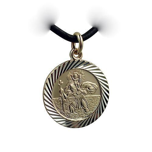 14ct yellow gold on Silver 1/20th 21mm round diamond cut edge St Christopher Pendant with a Leather Pendant Cord