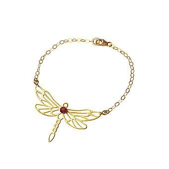 Gemshine Armband Libelle mit rotem Granat Edelstein in 925 Silber, hochwertig vergoldete Armkette. Nachhaltiger, qualitätsvoller Schmuck Made in Spain