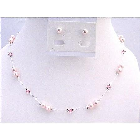 Rose Pink Swarovski Pearls Rose Crystals Bridal Bridesmaid Prom Set