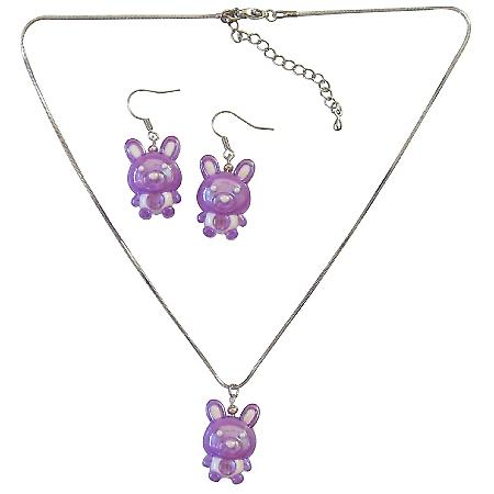 Purple Rabit Easter Jewelry Set Necklace & Earrings Affordable Gift