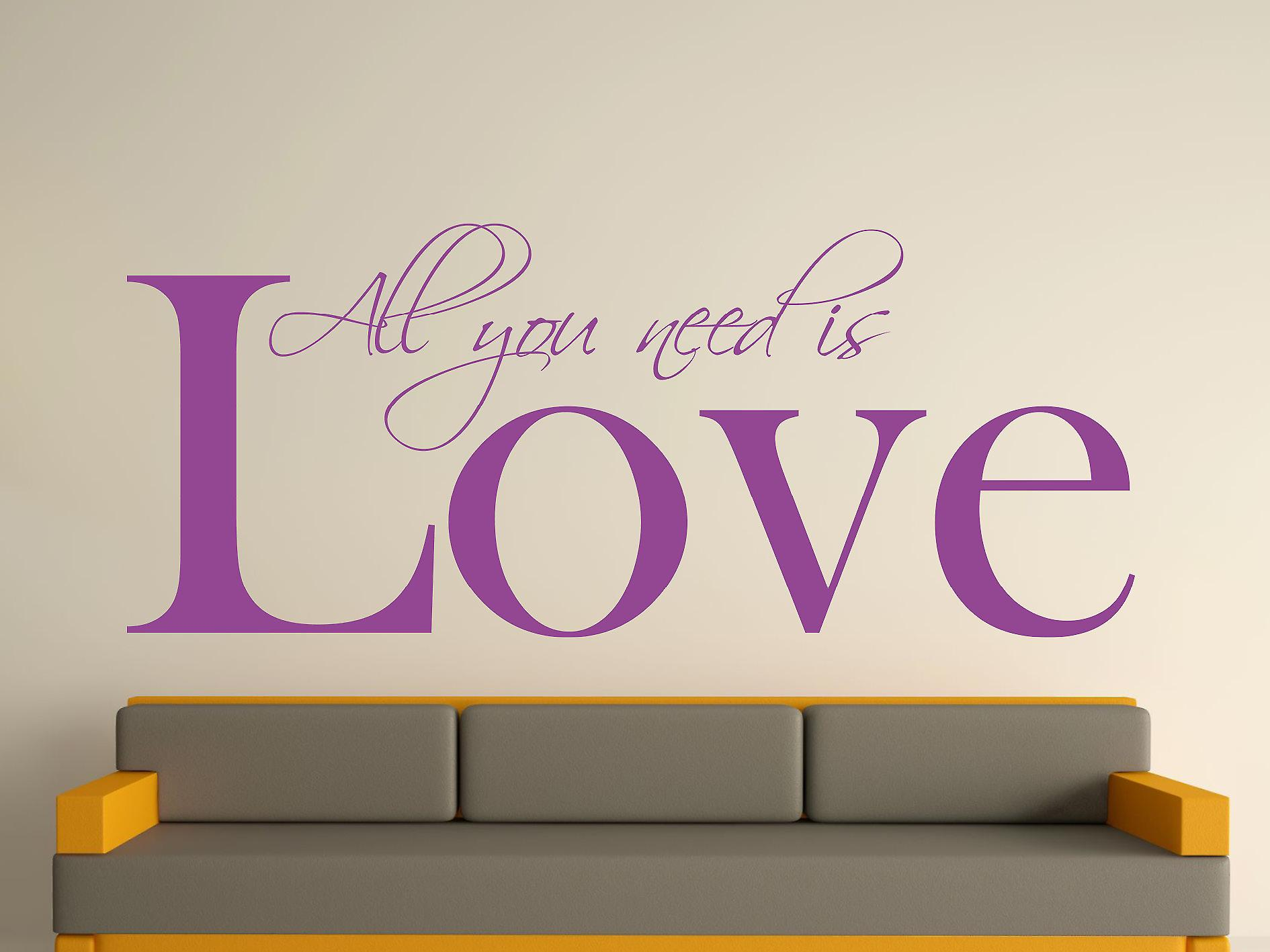 All You Need Wall Art Sticker - Purple