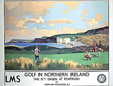 Golf In Northern Ireland Portrush (old rail ad.) fridge magnet   (se)