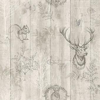 Hert houten paneel behang houten Effect korrels dierlijke Print bomen bladeren Holden Beige