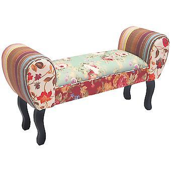 Róże - Shabby Chic Chaise PUFA stołek / drewna nogi - wielokolorowe