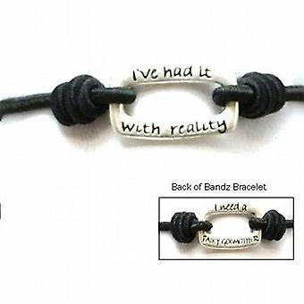 TOC Bandz 'Ive Had It With Reality...I Need A Fairy Godmother' Black Bracelet