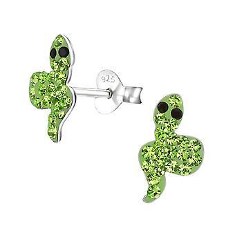 Children's Sterling Silver Snake Crystal Stud Earrings