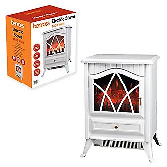 Benross Cast Iron Effect Fire Electric Stove Heater 1800 Watt White