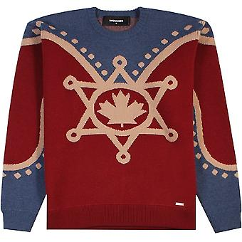 Dsquared2 Maple Leaf Knitted Jumper Red
