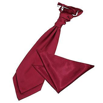 Burgundin Plain Satiini Cravat & taskussa neliön Set