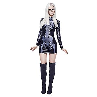 Fever Adult Women's Miss Whiplash Skeleton Costume Printed Dress Halloween Large