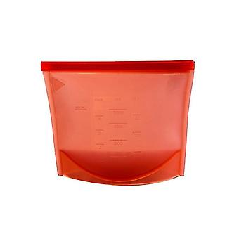 Reusable Ziplock-Silicone bag with dimensions-red
