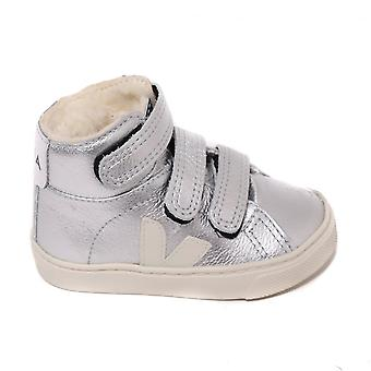 Veja Kids Esplar Mid High Top Trainer, Silver Pierre