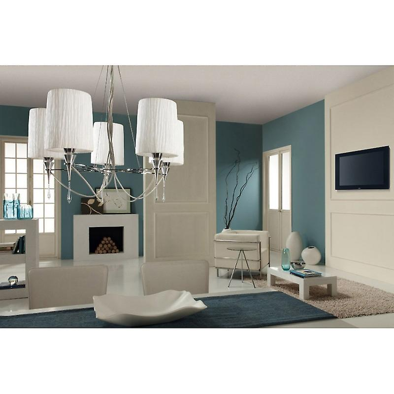 Lucca Pendant 5 Light E27, Polished Chrome With blanc Shades & Clear Crystal