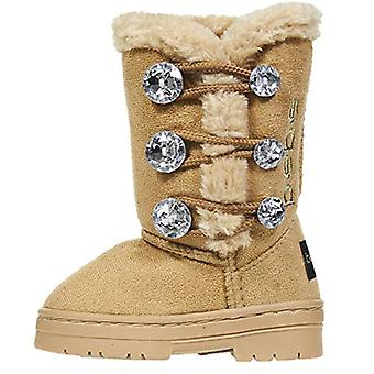 Toddler Girls Winter Boots with Rhinestones Buttons Slip-OnFashion Shoes