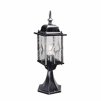 1 Light Outdoor Pedestal Lantern Black Silver Ip43