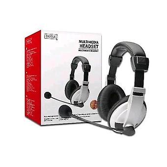 Digitus da-12201 hörlurar med mikrofon för PC-kabel 1,8 Mt 2xjack 3,5 mm färg svart/vit
