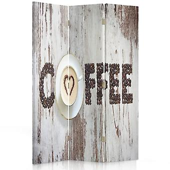 Room Divider, 3 Panels, Single-Sided, Canvas, Coffee Inscription Of The Coffee Beans