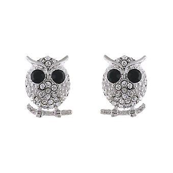 Clip On Earrings Store Silver & duidelijke Crystal wijze uil op een tak Clip op oorbellen