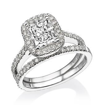 1.6 Carat G VS1 Diamond Engagement Ring 14K White Gold