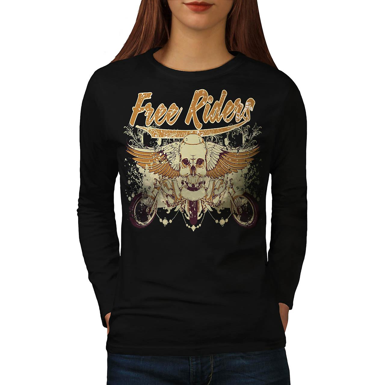Free Rider Bike Gang Biker Life Women Black Long Sleeve T-shirt | Wellcoda