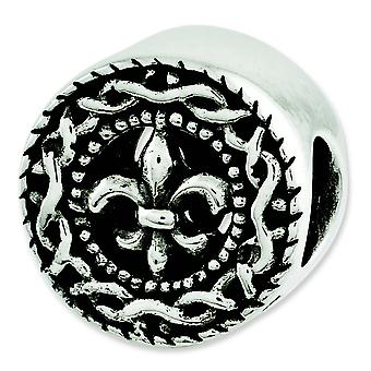 Sterling Silver Polished Antique finish Reflections Fleur De Lis Bead Charm
