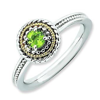 2.25mm Sterling Silver Polished Prong set Rhodium-plated and 14k Stackable Expressions Sterling Silver Peridot Ring - Ri