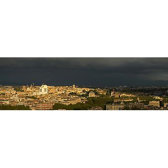 Elevated view of cityscape from Gianicolo Hill Rome Lazio Italy Poster Print
