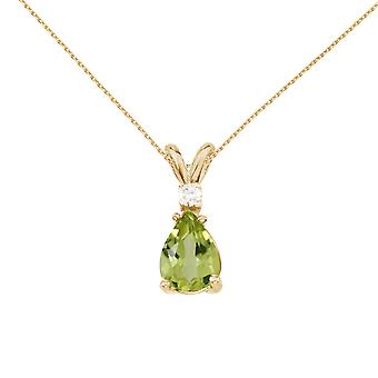 14k Yellow Gold Pear Shaped Peridot and Diamond Pendant with 18