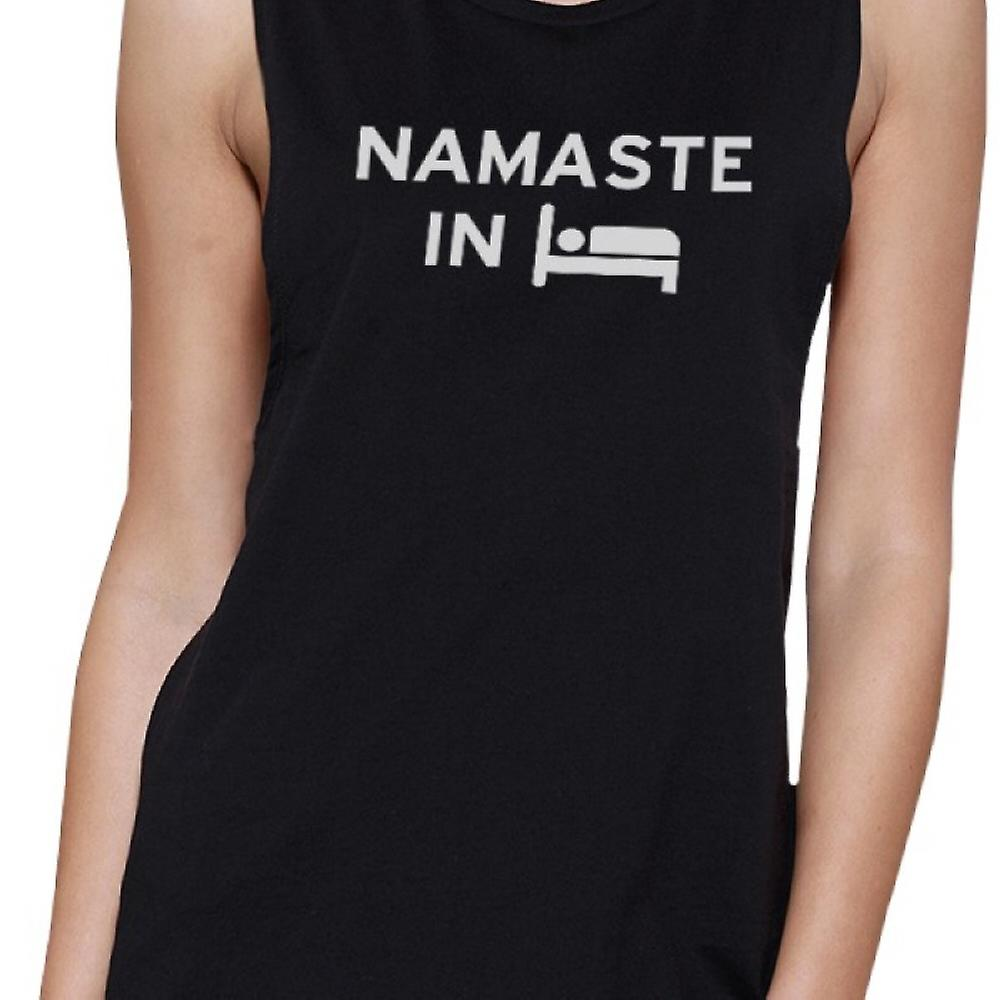Namaste In Bed Muscle Tee Yoga Work Out Tank Top Cute Yoga T-shirt