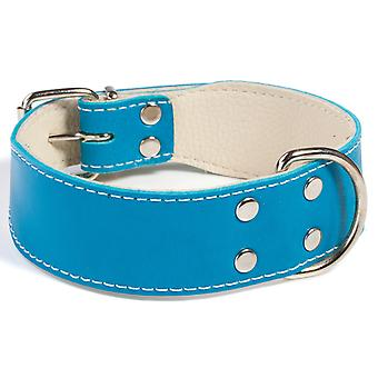 Doggy Things Bull Leather Dog Collar Blue 45cm