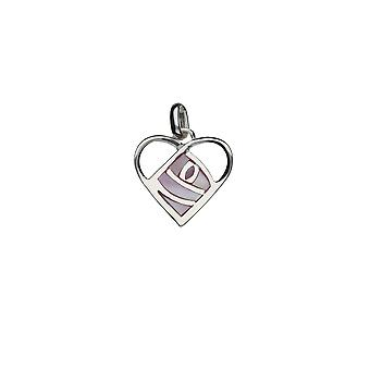 925 Sterling Silver Mackintosh Heart Pink Rose Pendant with Silver Chain ~ 20+2 inch extender Chain