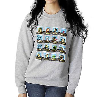 DOC Futurama Pop Culture Heads In Jars Two Women's Sweatshirt