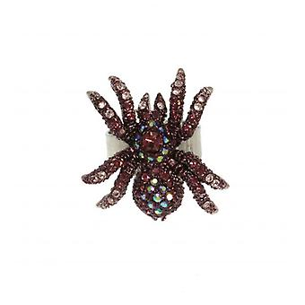 W.A.T paars Swarovski Crystal Spider Ring