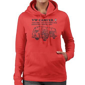 Haynes Workshop handmatige VW Camper 72 tot en met 79 Black Women's Hooded Sweatshirt