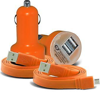 (Orange) Doogee Y300 (5 tommer) Universal kompakt desine 12v hurtig Mini kugle USB Dual Port i bilen oplader & 2 x Micro USB flade 1 meter Data Snyc PC Tablet opladning kabel af jeg - Tronixs