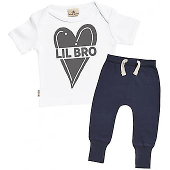 Spoilt Rotten Lil Bro Baby T-Shirt & Navy Joggers Outfit Set