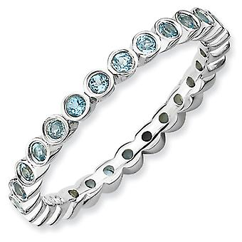 Sterling Silver Bezel Polished Patterned Rhodium-plated Stackable Expressions Blue Topaz Ring - Ring Size: 5 to 10
