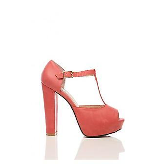 The Fashion Bible T Bar Platform Heels In Red
