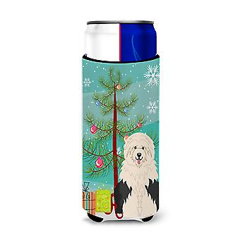 Merry Christmas Tree Old English Sheepdog Michelob Ultra Hugger for slim cans