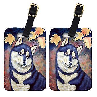 Carolines Treasures  7173BT Fall Leaves Siberian Husky Luggage Tags Pair of 2