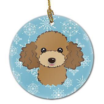 Carolines Treasures  BB1690CO1 Snowflake Chocolate Brown Poodle Ceramic Ornament