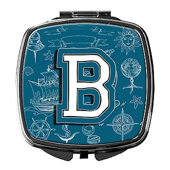 Letter B Sea Doodles Initial Alphabet Compact Mirror