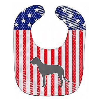 Carolines skarby BB3303BIB USA patriotyczne wilczarz irlandzki Baby Bib