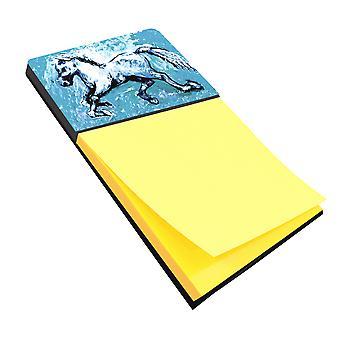 De schaduw van het paard in de blauwe Refiillable Sticky Opmerking houder of Postit Opmerking Dispenser